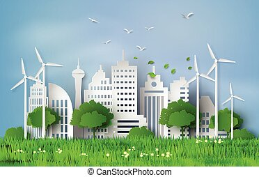 paper cut of eco concept. - concept of eco with building and...