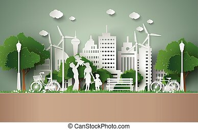 paper cut of eco concept. - concept of eco with family.paper...