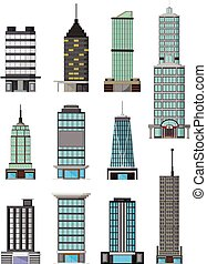 different kinds buildings cartoon