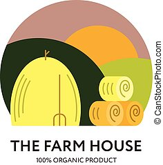 Farm House logo - Logo with haystacks, fields and the sun....