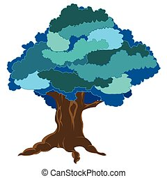 Big tree in winter - Vector illustration tree in winter on...