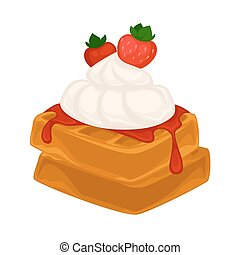 Vector breakfast food . Icon of healthy food waffles....