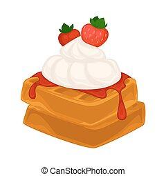 Vector breakfast food . Icon of healthy food waffles....