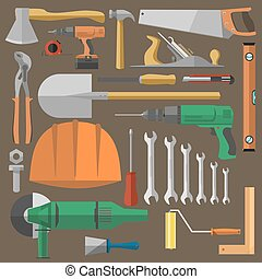 Set of tools for building, repair and construction...