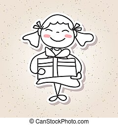 hand drawing cartoon concept happiness, happy kid with big...