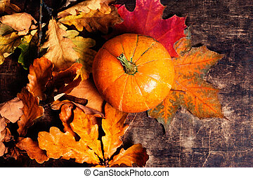 Autumn Fall background with pumpkins and golden leaves on...