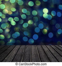 Empty wooden  table for product display with defocused blurry bokeh lights on background. Christmas and  New Year card