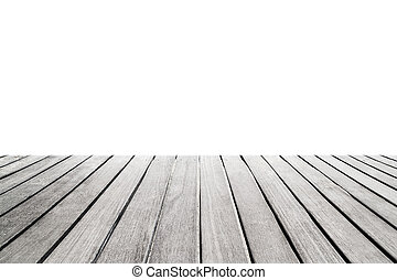 Empty wooden  table for product display isolated on white background