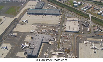 flight over airport - flight over newark airport