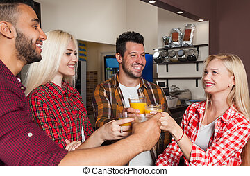 People Friends Drinking Orange Juice, Toasting At Bar...