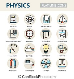Modern thin linear vector icons of physics and laboratory...