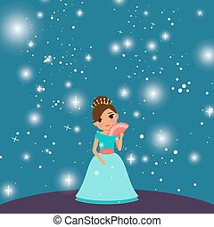 Cartoon beautiful princess - cartoon Beautiful princess with...