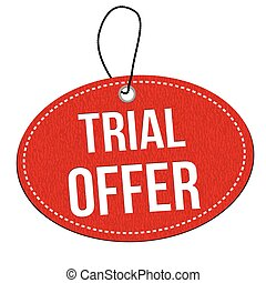 Trial offer label or price tag - Trial offer red leather...
