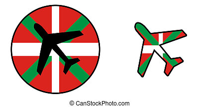 Airplane isolated on white - Basque country - Nation flag -...