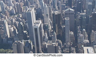 heli flight over manhattan close - aerial view of manhattan...