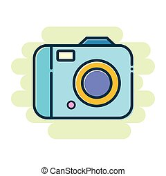 Digital Camera Flat Icon - Vector stock of simple colorful...