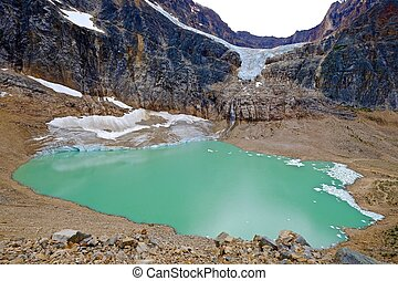 Angel Glacier and alpine lake. - Edith Cavell Mount and...