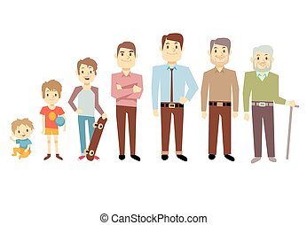 Men generation at different ages from infant baby to senior...