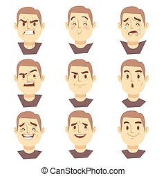 Man emotions faces vector cartoon business characters set....