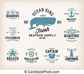 Vintage Nautical Labels or Design Elements With Retro Textures and Typography Anchors Steering Wheel Knots Seagulls Wale