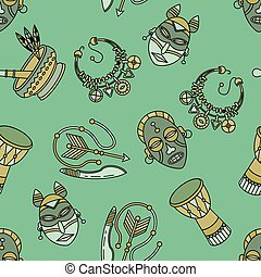 Seamless pattern with voodoo symbols. - Seamless pattern...