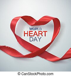 World Heart Day Background. Realistic satin ribbon heart...