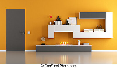 Modern living room with ecological fireplace