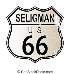Seligman Route 66 traffic sign over a white background and...
