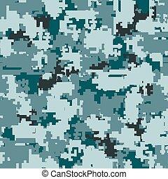 Digital camouflage seamless patterns - Digital pixel...