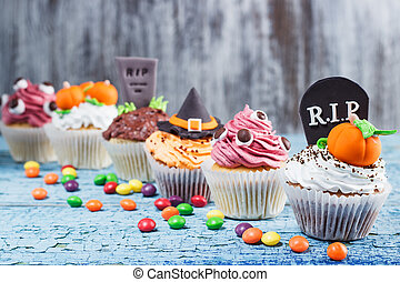 mastic, diferente, Cupcakes, coloreado, Halloween,...