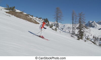 female skier on empty slope