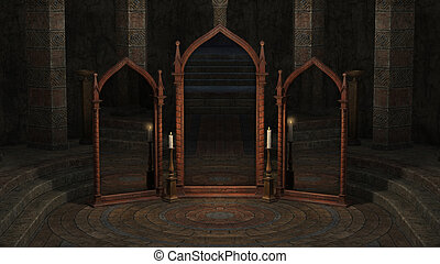 Temple with mirrors - 3D rendered illustration of...