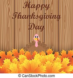 Turkey peeking out from autumn leaves and wishes everyone a...