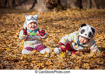 The two little baby girls sitting in autumn leaves - The two...