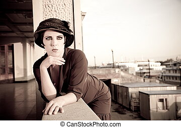 Retro Styled - Fashion retro styled woman portrait