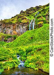 Small waterfalls near Seljalandsfoss - Iceland - Small...