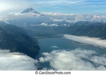 Avacha Bay and Vilyuchinsky stratovolcano South Kamchatka...
