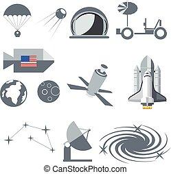 Digital vector silver cosmos icons set