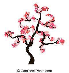 Sakura blossom isolated on white background, vector