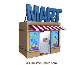 Mart - 3d image, conceptual mini mart