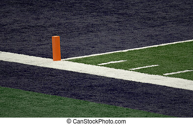Blue End Zone and Orange Pylon - Corner of a football field...