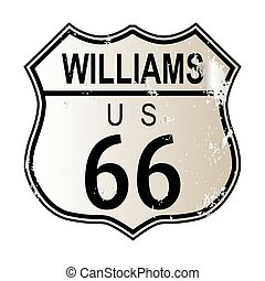 Williams Route 66 traffic sign over a white background and...