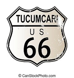 Tucumcari Route 66 traffic sign over a white background and...