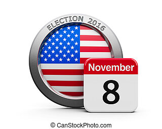 Election Day USA - Emblem of USA with calendar button - The...