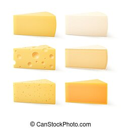 Set of Cheese Cheddar Bri Parmesan Camembert - Vector Set of...