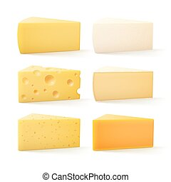 Set of Cheese Swiss Cheddar Bri Parmesan Camembert - Vector...