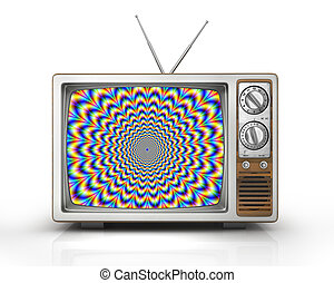 Television as influential mass media - hypnotic spiral on...