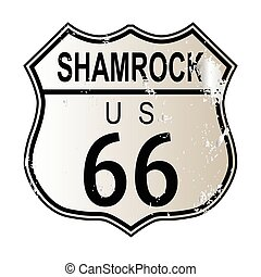 Shamrock Route 66 traffic sign over a white background and...