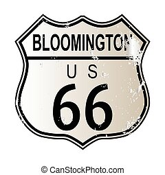 Bloomington Route 66 traffic sign over a white background...