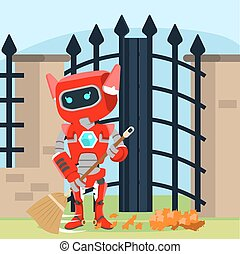 female red robot brooming